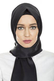 Black, Hijab, Head Cover, Hair, Scarf, Women's