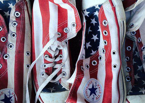 Converse, Chucks, Sneakers, Stars And Stripes, Footwear