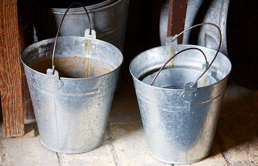 Buckets, Steel, Former, Antique, Tradition, Containers