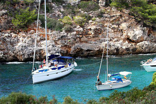 Mallorca Spain, Boats, Yacht, Inlet, Cala, Cove