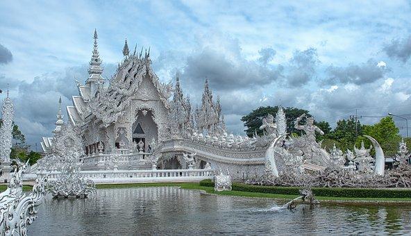 Temple, White Temple, Travel, Asia, Landmark, Culture