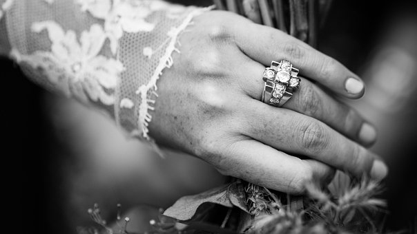 Woman, Girl, Lady, Hands, Fingers, Wedding, Ring, Gown