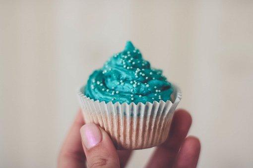 Food, Eat, Gourmet, Cupcake, Icing, Blue, Hand, Fingers