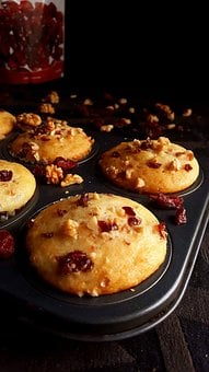 Muffins, Cranberries, Nuts, Baked, Food, Sweet, Dessert