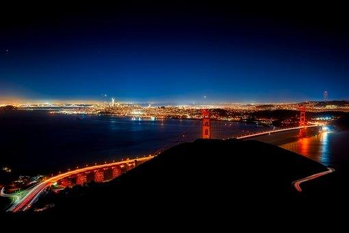 Golden Gate Bridge, Night, Evening, San Francisco