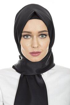 Black, Hijab, Head Cover, Hair, Scarf, Women's