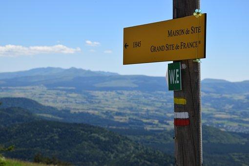 Hiking, Auvergne, Landscape, Markup, Panel