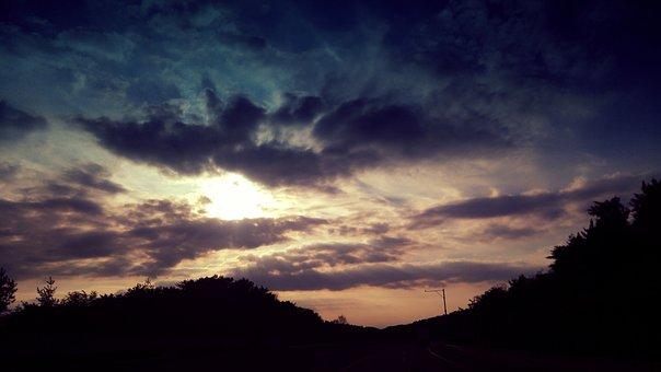 The Night Sky, Sky, Cloud, Sunset, In The Evening