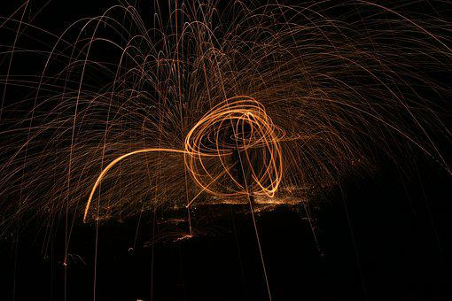 Fire, Steel Wool, Long Exposure, Leisure, Night Photo