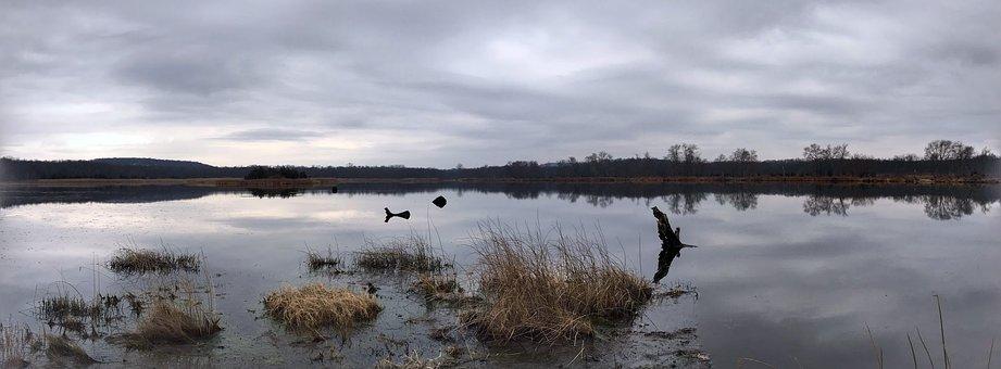 Panoramic, Water, Dusk, Lake, Evening, Sky, Autumn