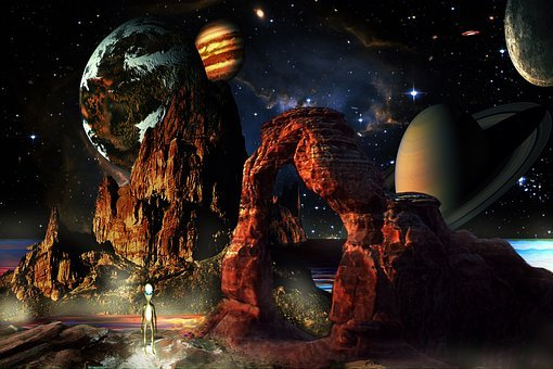 Fantasy World, Space, Planets, Aliens, Spaceships