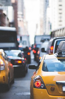 City, Streets, Traffic, Taxi, Cabs, Cars, Vehicles