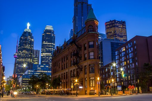 Toronto, Canada, Flat, Iron, City, Night, Street