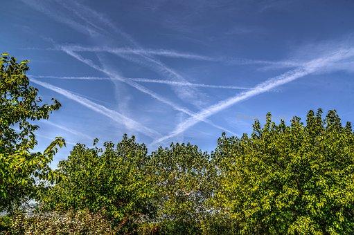 Trails, Plane, Sky, Airplane, Blue, Air, Fly, Aviation