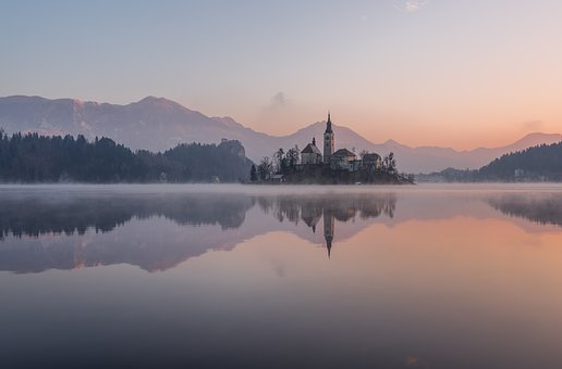 Bled, Winter, Lake, Slovenia, Castle, Island, Alps