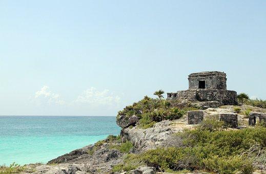 Tulum, Mexico, Ancient Ruins, Shore, Stone, Ocean