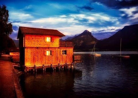 Austria, Boathouse, Sailboat, Lake, Water, Reflections