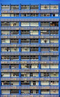 Balconies, Condos, Blue, Building, Architecture