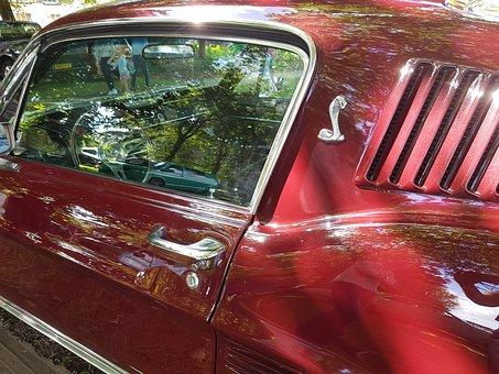 Mustang, Red, Chrome, Retro, Vintage, Motor, Car