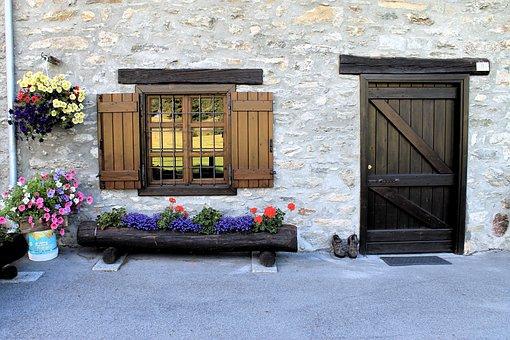 House, Door, Window, Flowers, Wood