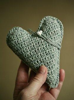 Hand Labor, Crochet, Wool, Heart, Give, Hobby