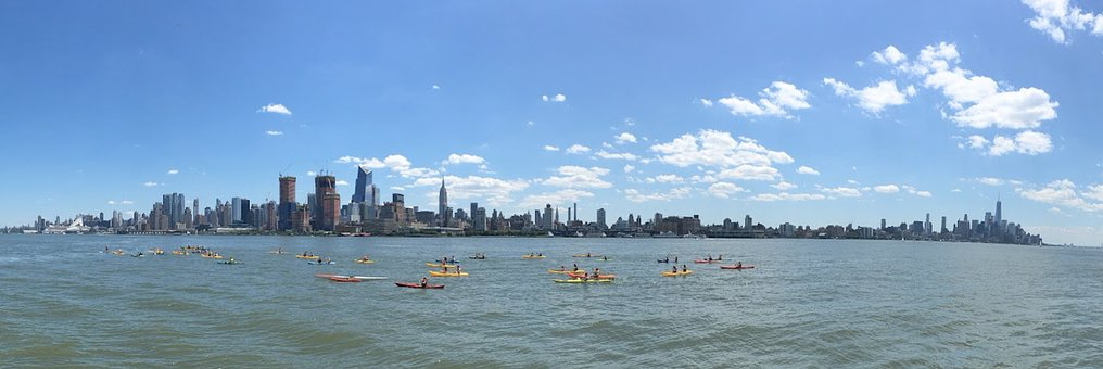 Panoramic, New York City, Hudson River, Kayaks, City