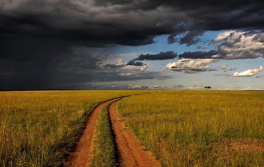 Kenya, Africa, Landscape, Sky, Clouds, Sunset, Dusk