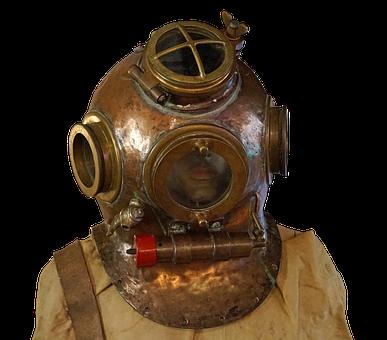 Divers, Helm, Divers Helmet, Old, Diving, Navy, Thread