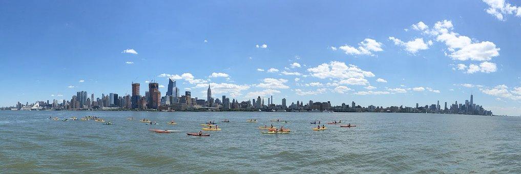 Panoramic, New York City, Hudson River, Kayaks, City
