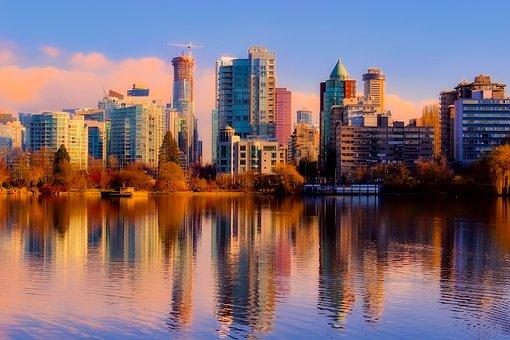 Vancouver, Canada, Sea, Ocean, Reflections, Skyline
