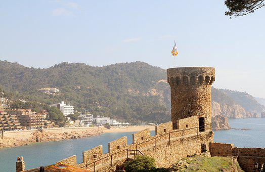 Castle, Tower, Spain, Catalunya, Flag, Stone, Sand