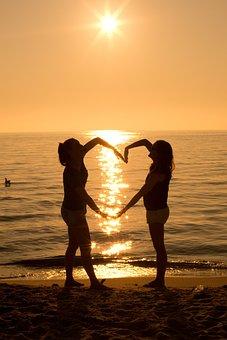 Sunset, Silhouette, Heart, Heart Shape, Summer, Sunrise