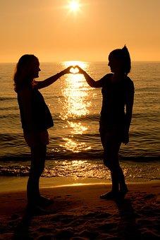Sunset, Heart, Two Women, Summer, Silhouette, Sunrise