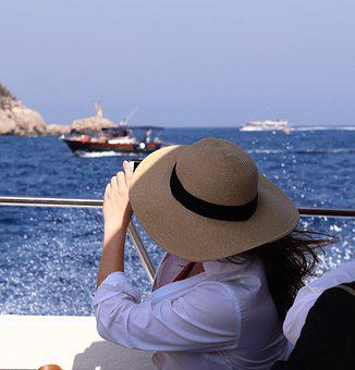 Sun Hat, Hat, Straw Hat, Sea, Boat, Sailing, Sun