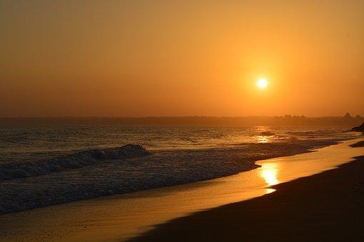 Landscape, Sea, Sun, Sunrise, Glow, Beach, Water