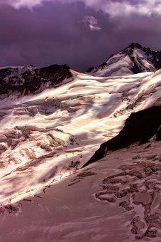Switzerland, Glacier, Mountains, Snow, Ice, Sky, Clouds