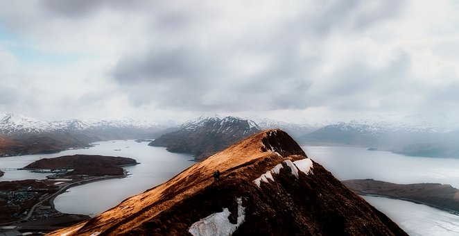 Dutch Harbor, Alaska, Sky, Clouds, Mountains, Travel