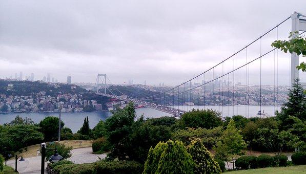 Istanbul, Turkey, Throat, Bridge, Landscape, Marine