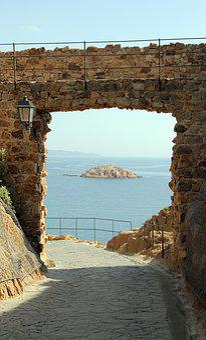 Castle, Wall, View, Sea, Ocean, Island, Stone