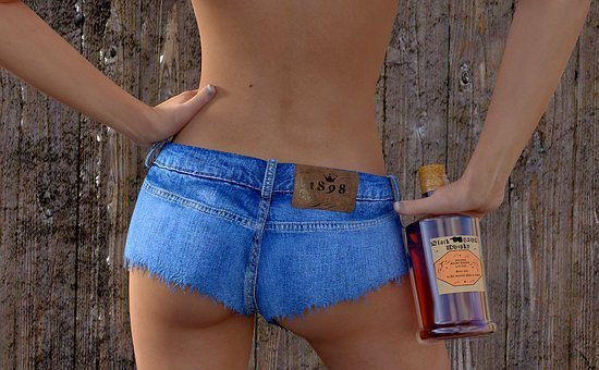Woman, Hotpants, Whisky, Jeans, Sexy, Po, Erotic, Model