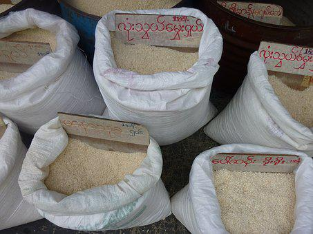 Rice, Bags, Street, Myanmar, Food, Agriculture, Grain