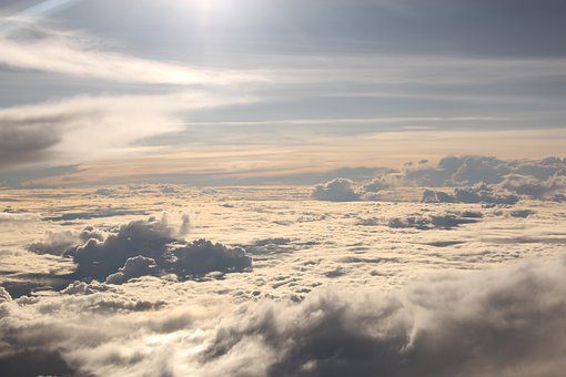 Sky, Plane, Clouds, Blue, Fly, Air, Flight, Wing