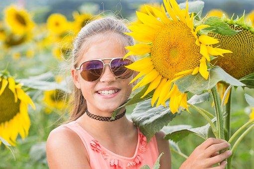 Child, Summer, Sun, Sun Flower, Girl, Nature, Happy