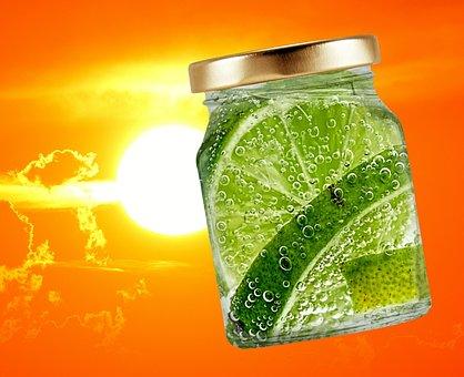 Summer, Sun, Glass, Refreshment, Lime, Bubble, Drink