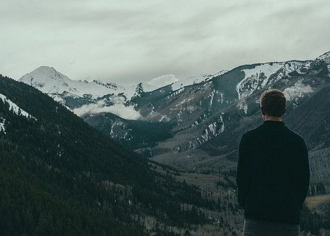 Guy, Man, Male, People, Back, Contemplate, Mountains