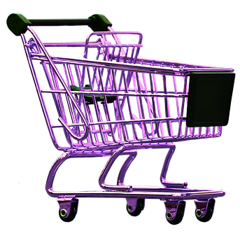Shopping Cart, Pink, Isolated, Exemption, Cut Out