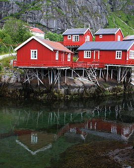 Reflections, Fishing Village, Fishing Huts, Cabins