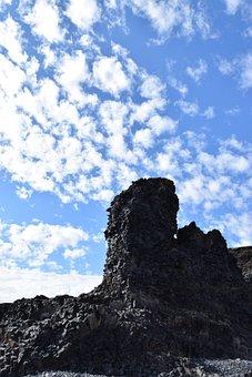 Rock, Formation, Pillar, Jagged, Clouds, Sky, Blue