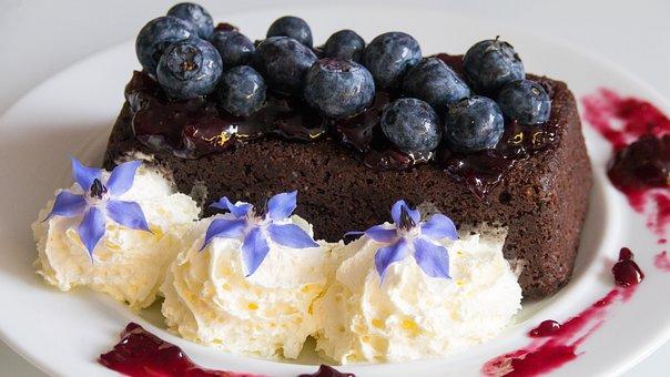 Cake, Berry, Blueberry, Cream, Flower, Sauce, Food