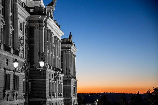 Palace, Sunset, Sky, Sun, Landscapes, Madrid, Horizon